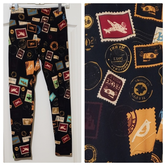 504a9a07c4474b LuLaRoe Pants | Leggings Nwot Stamps Traveling | Poshmark